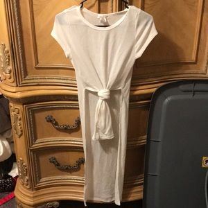 Agaci white tie front long high low top